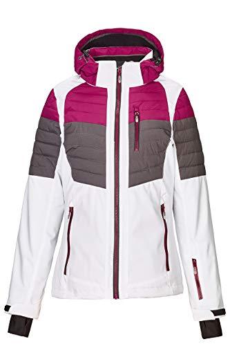 killtec Skijacke Damen Yalind - Winterjacke Damen - Damenjacke sportlich mit Skipasstasche - warme Jacke für den Winter - wasserdicht & atmungsaktiv, dunkel himbeere, 44