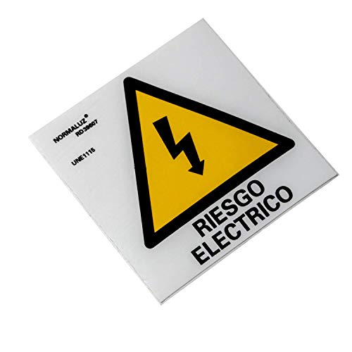 Normaluz RD39607 - Señal Adhesiva 10 Unidades Riesgo Eléctrico Rayo Adhesivo de Vinilo, Amarillo, 5x5 cm