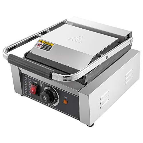 VEVOR 220V Piastra per Barbecue, Sandwich Elettrica 1800W, Piastra di Cottura Testa Singola in Acciaio Inox, Piastre Grill Commerciale Con Piastra Ondulata e Piana da 50 a 300 ℃