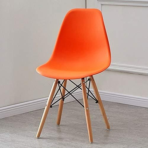 X&M Esszimmerstuhl Haushalt Make-up Rückenlehne Hocker Eames Nordic Negotiation Bürostuhl Massivholz Schreibtischstuhl (Farbe : Orange)