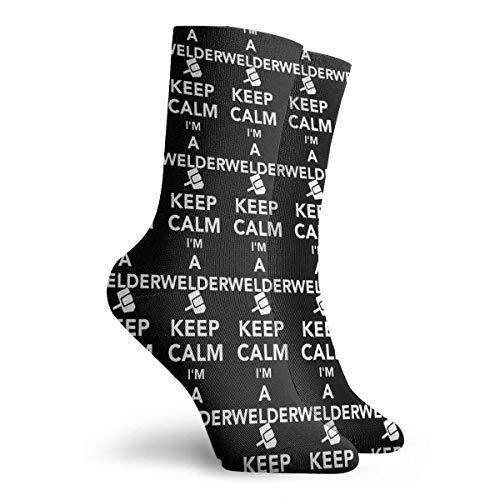QUEMIN Calcetines Transpirables Mantén la calma Soy un soldador Unisex Cómodo calcetín informal Calcetines de equipo Novedad Calcetines de tobillo 30 CM
