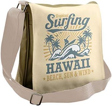 Lunarable Vintage Hawaii Messenger Bag Wind Surfing Waves Unisex Cross body product image