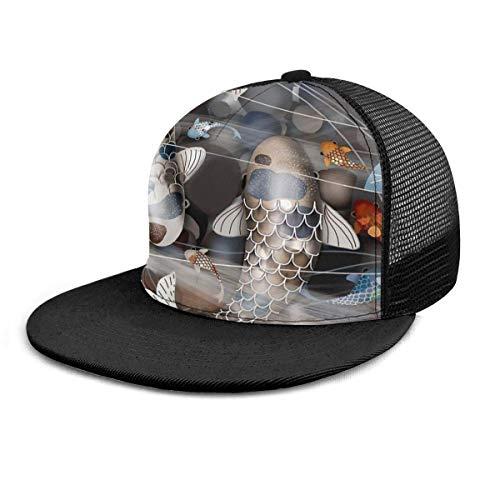 NA Baseballmütze Koi Fischteich China Art Kunst Baseballmützen Trucker Hut Summer Sun Sports Outdoor Snapback Hüte