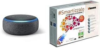 Echo Dot (3ª generazione) - Altoparlante intelligente con integrazione Alexa - Tessuto antracite + Bticino SN2000KIT Livin...