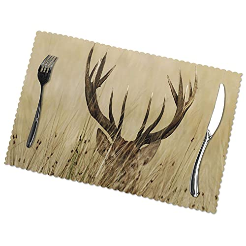 WANGJINGHUA Placemats Set of 4 Whitetail Deer Fawn in Wilderness Stag Print Coaster Non-Slip Heat Resistant Washable Table Mats 30X45CM