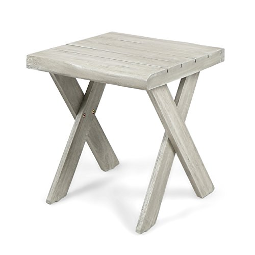Christopher Knight Home Estelle Indoor Farmhouse Acacia Wood Side Table, Sandblast Light Grey