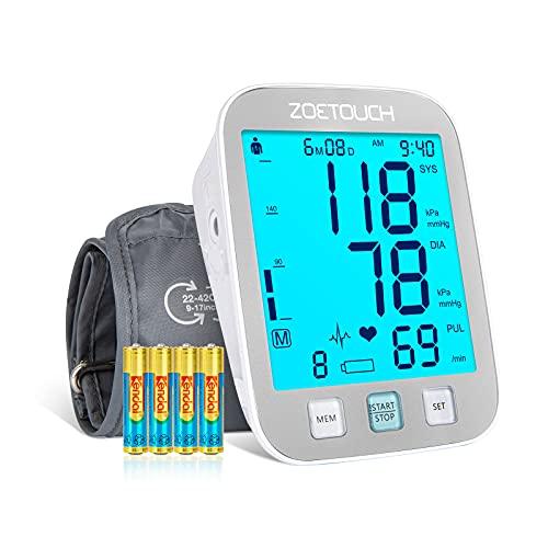 ZOETOUCH Blutdruckmessgerät oberarm, vollautomatisches Blutdruckmessgerät mit 4.5 zoll blaues LCD-Display, 22-42cm große Manschette, behalt 2*250 Sätze von Blutdruck/Herzfrequenz