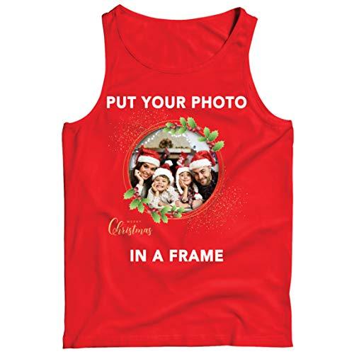lepni.me Camisetas de Tirantes para Hombre Marco Personalizado Vacaciones de Navidad Regalo Personalizado Foto...