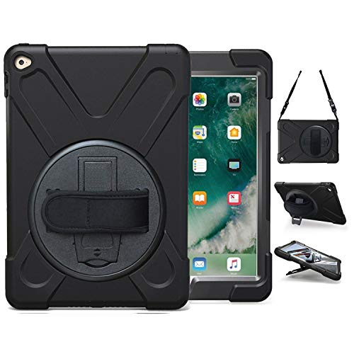 iPad Air 2 Case (2014 Release) | TSQ Case for iPad Air 2 Generation Heavy Duty Shockproof Rugged Cover with 360 Degree Stand Handle Hand Grip & Shoulder Strap for Apple Air 2nd Gen A1566 A1567, Black