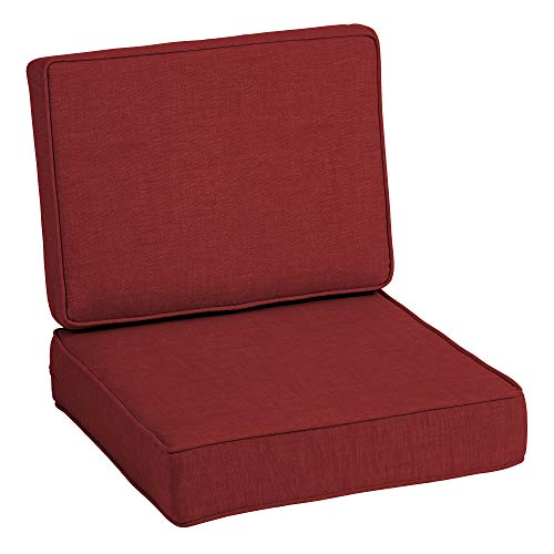 Arden Selections ProFoam Essentials 24 x 24 x 6 Inch Outdoor Deep Seat Cushion Set, Ruby Red Leala