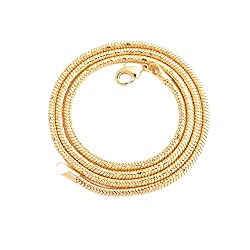 """Available in 20inches, 22inches and 24inches Chain width: Approx 2.5mm diameter Chain weight: approx 20g/20"""", 25g/22"""", 30g/24"""" Color: 18K yellow gold tone Chain has a lobster-claw clasp to securely connect the necklace"""