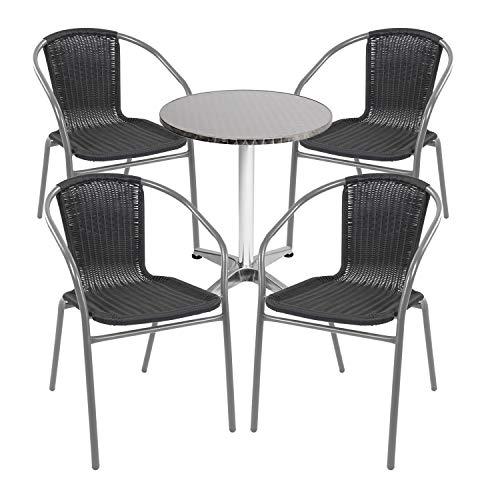 Mojawo - Juego de mesa y sillas apilables (5 piezas, aluminio, 60 x 70 x 110 cm, altura regulable, 4 sillas apilables, acero/ratán), color plateado y negro