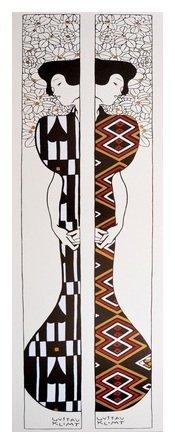 Germanposters Gustav Klimt Silhouette I - II Poster Kunstdruck Bild im Wechselbildhalter ohne Profil 95,2x33,2cm