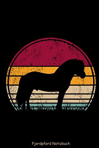 Fjordpferd Notizbuch Liniert - Vintage Retro Silhouette: Pferderasse Norwegisches Pferd Fjord Pony Notizheft Schreibheft Heft Tagebuch 6x9 Zoll DINA5 120 Seiten Liniert Linien Geschenk