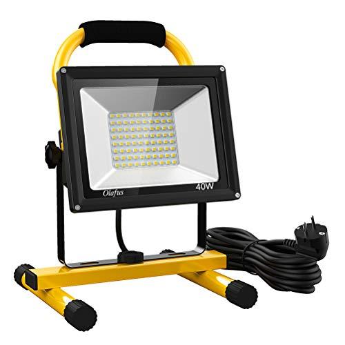 Olafus 40W 4000LM LED Baustrahler, LED Arbeitsleuchte 5m Kabel 2 Helligkeitsmodi IP65 Wasserdicht Bauscheinwerfer, 5000K Tageslichtweiß Arbeitsscheinwerfer Strahler Fluter für Werkstatt, Baustelle