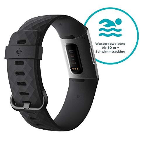 Fitbit Charge 3 Gesundheits und Fitness-Tracker, Schwarz/Aluminium-Graphitgrau