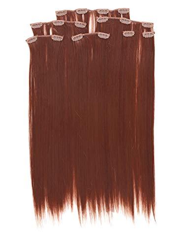 Prettyland antistatique Set de 7 pièces Clip-in 50 cm longue lisses Extensions de cheveux brun nature BR15