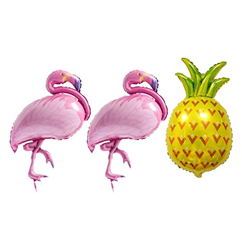 D DOLITY 3pcs Ballons Flamant Ananas en Feuille Aluminium Accessoire Décoratif de Fête d'anniversaire Enfants