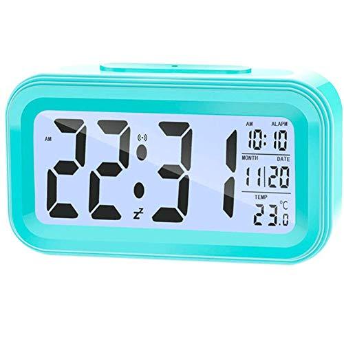 JINGMAI Intelligente digitale wekker, LED kinderwekker met lichtsensor, digitaal alarm, 5 minuten snooze, datum temperatuur display, slaapkamer, familie, digitale wekker voor kinderen