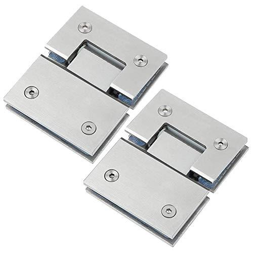2 Pack 180 ° Grados Bisagra de puerta de vidrio engrosado Abrazadera de puerta de acero inoxidable 304 Bisagra de cuarto de baño Accesorios de hardware de baño