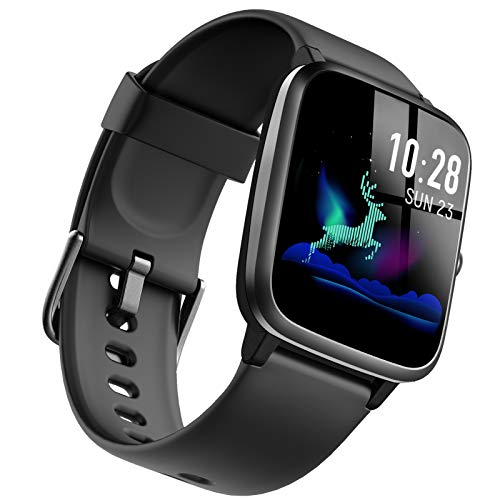 """Kimi Smart Watch for Men Women, Waterproof Fitness Watch with Heart Rate Monitor GPS Tracker, Activity Tracker with Pedometer Sleep Monitor, 1.3"""" Touch Screen Smart Wrist Watches Black"""