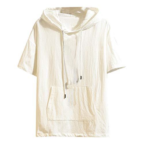 Xmiral T-Shirt Herren Hoodie Halber Ärmel Gedruckte Patchwork Gefälschter Zweiteiliger Tops Mit Kapuze Slim Fit Poloshirt Hemde Lose Bluse Polohemd(c Weiß,4XL)