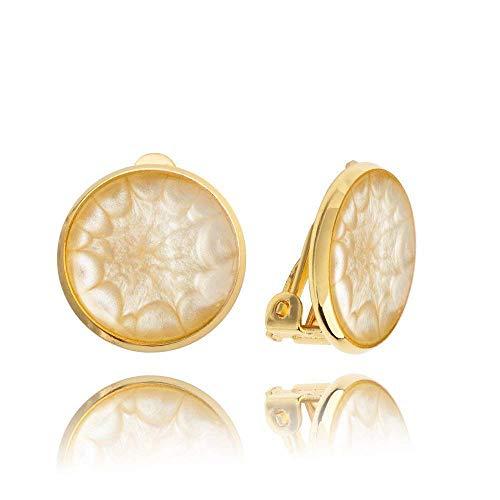 Klassisch Runde Beige Vergoldet Ohrclips ohne Ohrlöcher Geschenke für Damen; Elegant Creme Party Ohrring Clip Dragon Porter