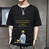 Leftroad Camiseta de algodón en Color Liso,Manga Corta Casual Coreana T.-Black_XL #,Camiseta de algodón de Varios tamaños para Hombre