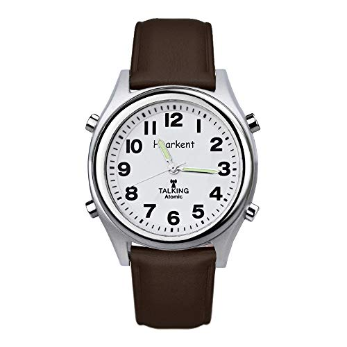 Atomic Talking Watch Sets Itself Unisex Talking Watch for Seniors Or The Blind People with Alarm for Visually Impaired Best Gift for ederly (Brown)