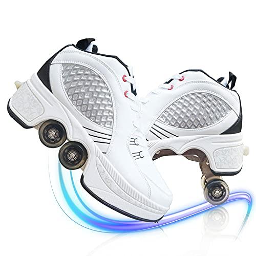 TAOXUE Al aire libre Niñas Niños Retráctil Pop Out Rueda Patines Hombres Mujeres Deformación Roller Zapatos Multifunción Parkour Zapatos con Ruedas