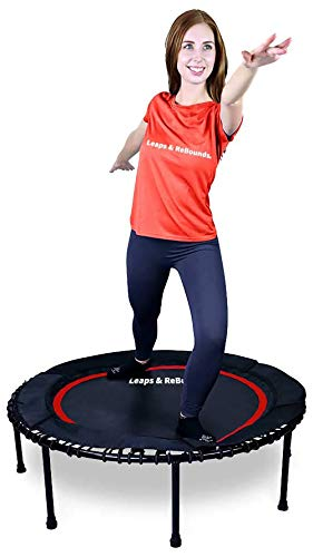 LEAPS & REBOUNDS: Rebounder - Fitness Trampoline - Full-Size Protective Mat - Minimal Joint Impact - High-Calorie Burn - Improve Cardio, Balance, and Physical Strength