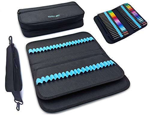 TOOLI-Art Markers & Pens Organizer (120 Slots), Carrying Case for Travel & Storage with Zipper Pocket, Handle, Removable & Adjustable Strap