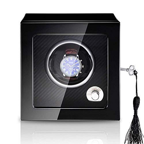 Sunmong Cajas de enrollador de Reloj Individual, Caja de Almacenamiento de Reloj de Madera y Cuero PU, 5 Modos y Motor silencioso, Cajas de Enrollado automático