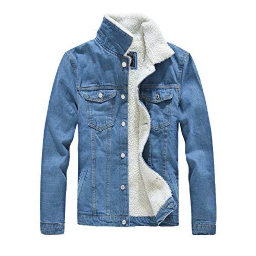 Herren Jeansjacke mit Fell,Winter Dick Warm Denim Jacket,Männer Vintage Stehkragen Coat Übergangsjacke M-5XL