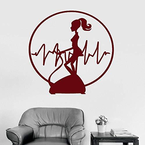 Mrlwy Fitness Donna Decalcomania da muro Allenamento Cardio Training Sport Ragazza Battito cardiaco Vinile Adesivi per finestre Soggiorno Palestra Arredamento d'interni 57x58cm