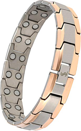 Elegant Men's Double Magnet Wide Titanium Magnetic Therapy Bracelet Pain Relief for Arthritis and Carpal Tunnel (Silver & Rose Gold)