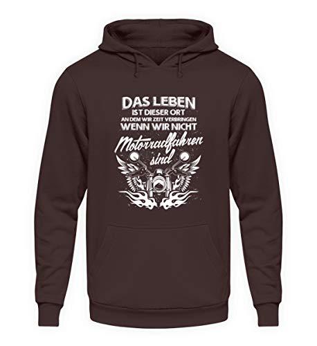 shirt-o-magic Motorradfahrer: Das Leben. - Unisex Kapuzenpullover Hoodie -XL-Schokolade