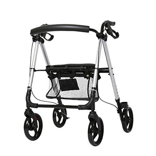 Leichtes Aluminium Rollator, Einstellbarer Roll Walker mit Sitz for Senioren, Behinderte, eingeschränkte Mobilität Patienten, Wandern Stabilizer mit vier Rädern, Gewicht Kapazität 330 lb gehilfen seni