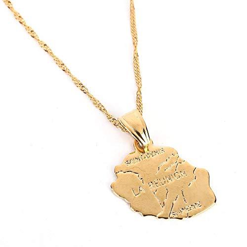 La Reunion Karte Anhänger Halskette Goldfarbe Mode Frankreich Inselreunion und Aktuelles Wetter oder lesen Sie den letzten Schmuck