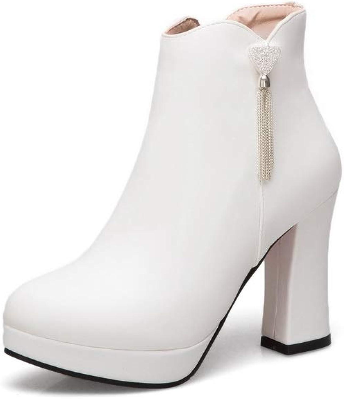 AN Womens Chunky Heels Platform Tassels Urethane Boots DKU02399