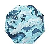 Ballena De Pulpo Delfín De Mar Azul Paraguas Plegable Hombre Automático Abrir y Cerrar Antiviento Protección UV Ligero Compacto Paraguas para Viajes Playa Mujeres Niños Niñas