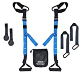 PROTONE suspension strap training system - Bodyweight Strength And Fitness Trainer - Home Gym - Fitness (Blue)