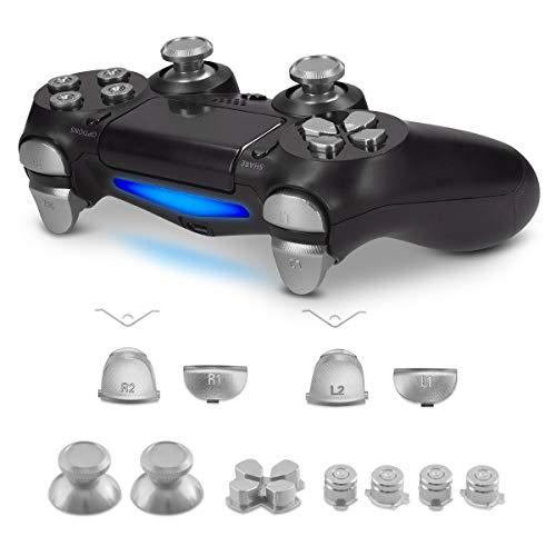 kwmobile Boutons de Rechange Compatible avec manette Playstation manette 4 Pro / PS4 slim (2ème gén.) - Set Touches Joystick Flèches en Aluminium - argenté