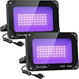 Onforu 2 Pack 50W LED Black Lights, Blacklight Flood Light for Halloween Decorations, IP66 Waterproof Black lights for Dance Party, Glow in the Dark, Stage Lighting, Body Paint, Fluorescent Poster