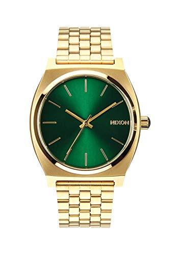 Nixon Time Teller Damennuhr Analog Quarz mit Edelstahl Armband Gold / Green Sunray