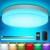Oraymin LED Plafonnier RGB Compatible avec Alexa, Google Home, APP, Connecté Wifi 12W 1200LM LED Lampe de Plafond Dimmable,Blanc Chaud à Blanc 2700-6500K, IP54, pour Chambre d'enfant, Salon, Balcon