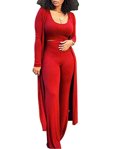 HAHAEMMA Conjunto de traje de mujer con pantalón y top sexy de 3 piezas para mujer, camiseta lisa y de pierna ancha, pantalones largos, cárdigan de manga larga, sudadera, informal, streatwear rojo L