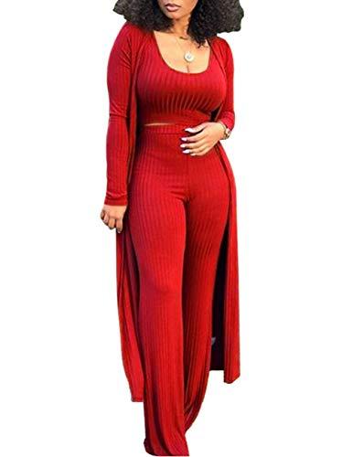 Damen Suit Set Hose und top sexy 3 Piece Outfits for Women Plain Crop Top Wide Leg Long Pants Long Sleeve Cardigan Sweater Casual(RE,S)