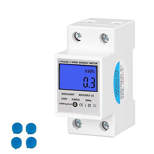 Conpush Wechselstromzähler 5(80) A 230V Stromzähler 1 Phase Energiezähler Wattmeter KWH Hutschiene