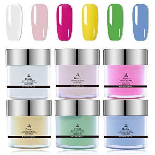 Seisso Kit Dipping Powder Nail Art 6 Colori Polvere da Immersione per Unghie Manicure per Principianti Bianco, Rosa, Rosa Rossa, Giallo, Verde erba, Blu